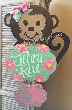 Joley Bean Designs, by Kassidy, monkey baby door hanger, baby girl, nursery… Hospital Door Signs, Hospital Door Hangers, Baby Door Hangers, Burlap Door Hangers, Birth Announcement Sign, Birth Announcements, Wooden Cutouts, Diy Letters, Diy Door