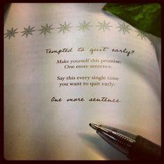 Inspiration to keep writing