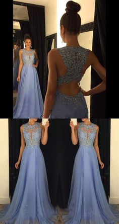 Elegant Blue Floor Length A Line Beading Appliques Prom Dress Crew Neckline Illusion Neckline Evening Dress