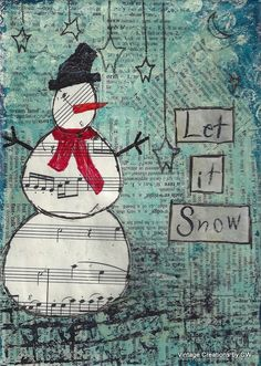 "repurposed junk before and after | Let It Snow - 5"" x 7"" Print of Original mixed media canvas, Christmas ..."
