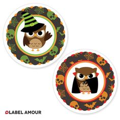 Halloween Party Bags Favour Sticker Labels | Owl Witch Vampire | 2 Designs