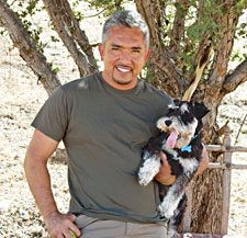 Cesar Millan and Miniature Schnauzer Angel