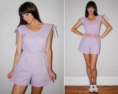 Vintage 70s ROMPER / Lavender Purple  White by PastLivesofNewYork
