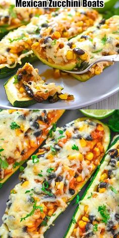 These delicious Mexican Zucchini Boats are so flavorful and scrumptious. This is the perfect dish if you love vegetarian dishes with some kick. FOLLOW Cooktoria for more deliciousness! If you try my recipes - share photos with me, I ALWAYS check! Lunch Recipes, Healthy Dinner Recipes, Mexican Food Recipes, Diet Recipes, Chicken Recipes, Vegan Recipes, Cooking Recipes, Mexican Cooking, Vegetarian Recipes For Christmas