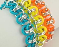 Premium Twist of Fate Stretch Chainmaille Bracelet Kit - Neon Rubber and Aluminum