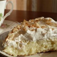 Old-Fashioned Coconut Cream Pie Recipe Desserts with sweetened coconut flakes, half & half, eggs, white sugar, all-purpose flour, salt, vanilla extract, pie shell, frozen whipped topping