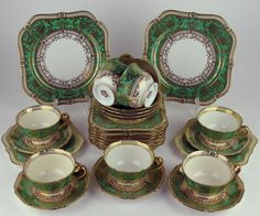29 PC Set Noritake Teacups Square Plates Green Gold Vintage 1930s Japan N1487 | eBay