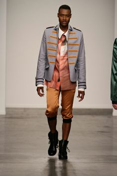 ornated uniform jacket with copper silk knickerbockers and printed flamingo shirt