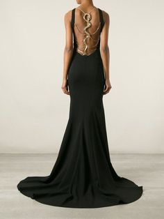 Slytherin Dress Roberto Cavalli Snake Strap Back Gown in Black<< it would look nice if the dress was emerald green and the snake was silver Ball Dresses, Ball Gowns, Prom Dresses, Formal Dresses, Formal Shoes, Cavalli Dress, Fantasy Dress, House Dress, Beautiful Gowns