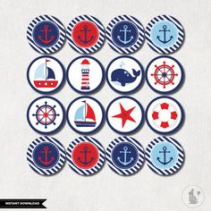 NAUTICAL CUPCAKE TOPPERS. Nautical Baby von BlueBunnyPrintables