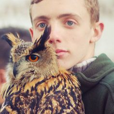 More photos of people posing with owls found via My Owl Barn - click the pin to see the rest.  And for those of you who are Harry Potter fans, there's something for you there, too.