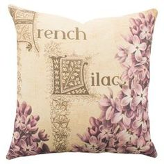 "Cotton denim pillow with a French lilac motif. Handmade in the USA.   Product: PillowConstruction Material: 100% Cotton denimColor: Pink and beigeFeatures:  Insert includedZipper enclosureMade in the USA  Handmade by TheWatsonShop   Dimensions: 16"" x 16""Cleaning and Care: Dry clean"