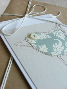 Sewn Bird Card, a lovely pale blue-grey