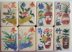 Vintage bone and bamboo #Mahjong flower tiles
