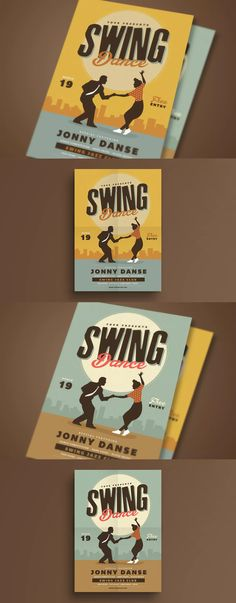 Retro Swing Dance Party Flyer Template AI, PSD - A4