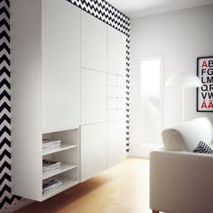 Combineer grafische printen met een strakke BESTÅ VARA wandkast voor een modern…