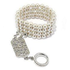 "Vanderpump Simulated Pearl & Glass Stone ""Gracie"" Bracelet & Connected Ring"
