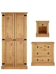 Hampshire Bedroom Furniture Range solid pine bedroom furniture set - 3 door wardrobe, drawers
