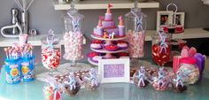 Dora Theme, Dora castle cake and personalised candy jar tags.