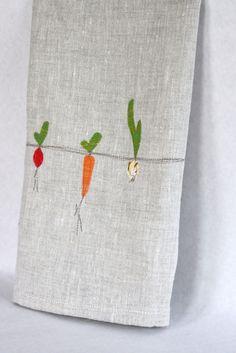 Linen Tea Towel, Hand Appliqued, Garden Vegetable Trio on Natural Linen