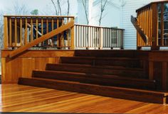 Outdoor Wood Steps, Long  Railing Backyard  NJ Carl's Fencing, Decking and Home Improvements www.bycarls.com 855-By-Carls