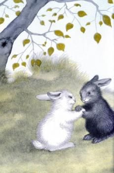 """The Rabbits Wedding"" by Garth Williams (the book which caused a sensation due to the ""inter-racial"" rabbit couple.  Nope.  I'm not joking.)"