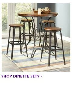 Largo Furniture: Abbey Collection Five Piece Pub Table And Backless Stools  Dining Set.