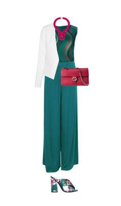 Teal looks terrific on a pure summer. I love the monochromatic look of this outfit with pops of pink. A really fun color combo for the warm weather. Scroll down to shop the items in this outfit and to get your style guides for pure summer. Shop This Look Issey Miyake green shirt $1,545