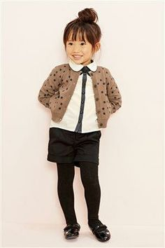 Toffee Spot Cardigan with Cream Collar Blouse (3mths-6yrs)