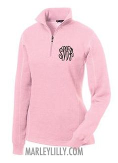 *want* Monogrammed Pink Pullover Sweatshirt