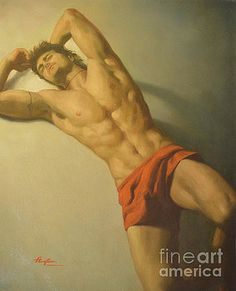Hongtao     Huang -  original classic oil painting art-male nude on linen-0018