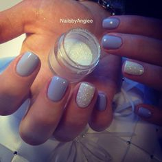 Love the glitter feature nail with a pastel grey (or any pastel)