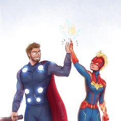 Thor and Captain Marvel Thor, Avengers Art, Avengers Memes, Ghost Rider, Marvel Comics, Captain Marvel Carol Danvers, Avengers Pictures, Marvel Drawings, Marvel Fan Art