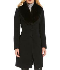 Katherine Kelly Real Fox Fur Trim Shawl Collar Single Breasted Coat #Dillards
