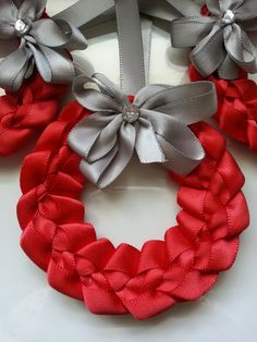 3 Red Wreaths with Silver Bows Tree Ornaments by PickinsGalore, $11.97