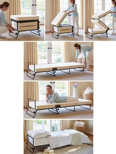Fold-Out Ottoman Bed - Hide your guests in plain sight with the fold out ottoman bed from Solutions. See how it stores as an ottoman during the day and folds out as a sleeper ottoman at night.