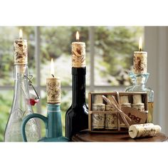 Wine Cork Candles, Set of 4 made by Garden Party Hostess.