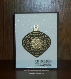 CHRISTMAS CARD: Stampin' Up! Delicate Ornament Thinlits Dies were used with the Embellished Ornaments Stamp set to create this stunning card. Full details can be found on ... http://lindasstampinescape.com
