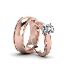 Oval Shaped Matching Wedding Ring and Band Anniversary Gifts with Diamonds in 14K Rose Gold exclusively styled by Fascinating Diamonds