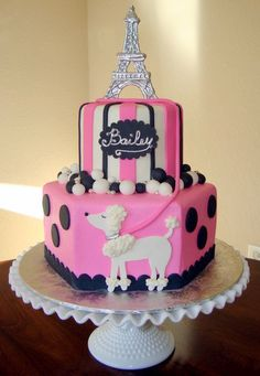 pink and black poodle Cake. I love this one!