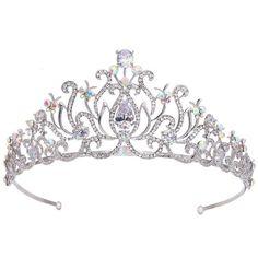 Amazon.com: EVER FAITH Silver-Tone Austrian Crystal Zircon Princess... ($28) ❤ liked on Polyvore featuring accessories, hair accessories, flower hair accessories, tiara crown, flower tiara, flower crown and crown hair accessories