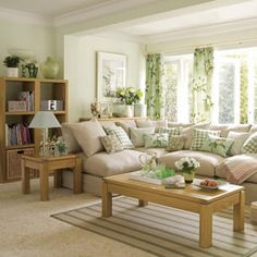 Etonnant Living Room: Light Green Paint, Tan Couches With Lots Of Pillows.not So  Much The Curtain/pillow Designs :)