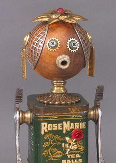 ROBOT SCULPTURE Metal art sculpture Junk by CastOfCharacters23