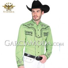 Camisas Charras El General Western Wear 33786GM En Color Verde Decoracion tribal flourishes Western