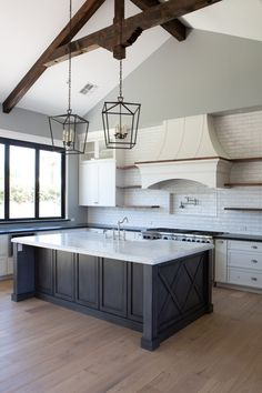 Custom farmhouse style island with exposed open beam work above. Kitchen Inspirations, Home Decor Kitchen, Kitchen Redo, Kitchen Style, Home Kitchens, Home, Kitchen Living, Kitchen Design, Kitchen Remodel