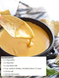 5 Minute Nacho Cheese Sauce Recipe - with VIDEO - Budget Bytes Chilli dawgs & cheese sauce Comida Latina, I Love Food, Mexican Food Recipes, Nacho Recipes, Taco Bell Recipes, Corn Tortilla Recipes, Food Videos, Baking Videos, Food To Make