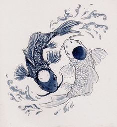 koi fish, ying and yang, drawing, tattoo, black and white, peace, balance