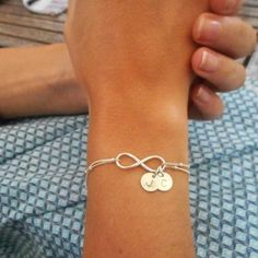 Bracelet Argent Infini 2 Initiales : Bracelet par felixchic