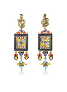 Roberto+Cavalli+Brushed+Gold-tone+w+Multicolor+Beads+Long+Clip-On+Earrings