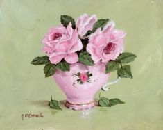 Imprimir em papel - rosa Rosas em um copo de chá-de-rosa - PORTE POSTAL LIVRE NO MUNDO INTEIRO